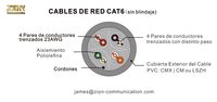 CABLES DE RED CAT6 UTP(sin blindaje) 4P 23AWG UTP